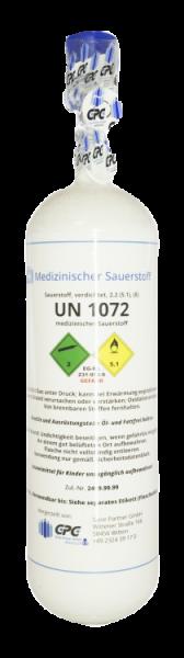 Neuflasche & Füllung mit Sauerstoff med. 2 Liter
